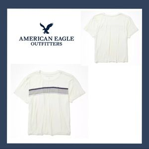 American Eagle Neck Striped Cropped Baby Tee Sz S